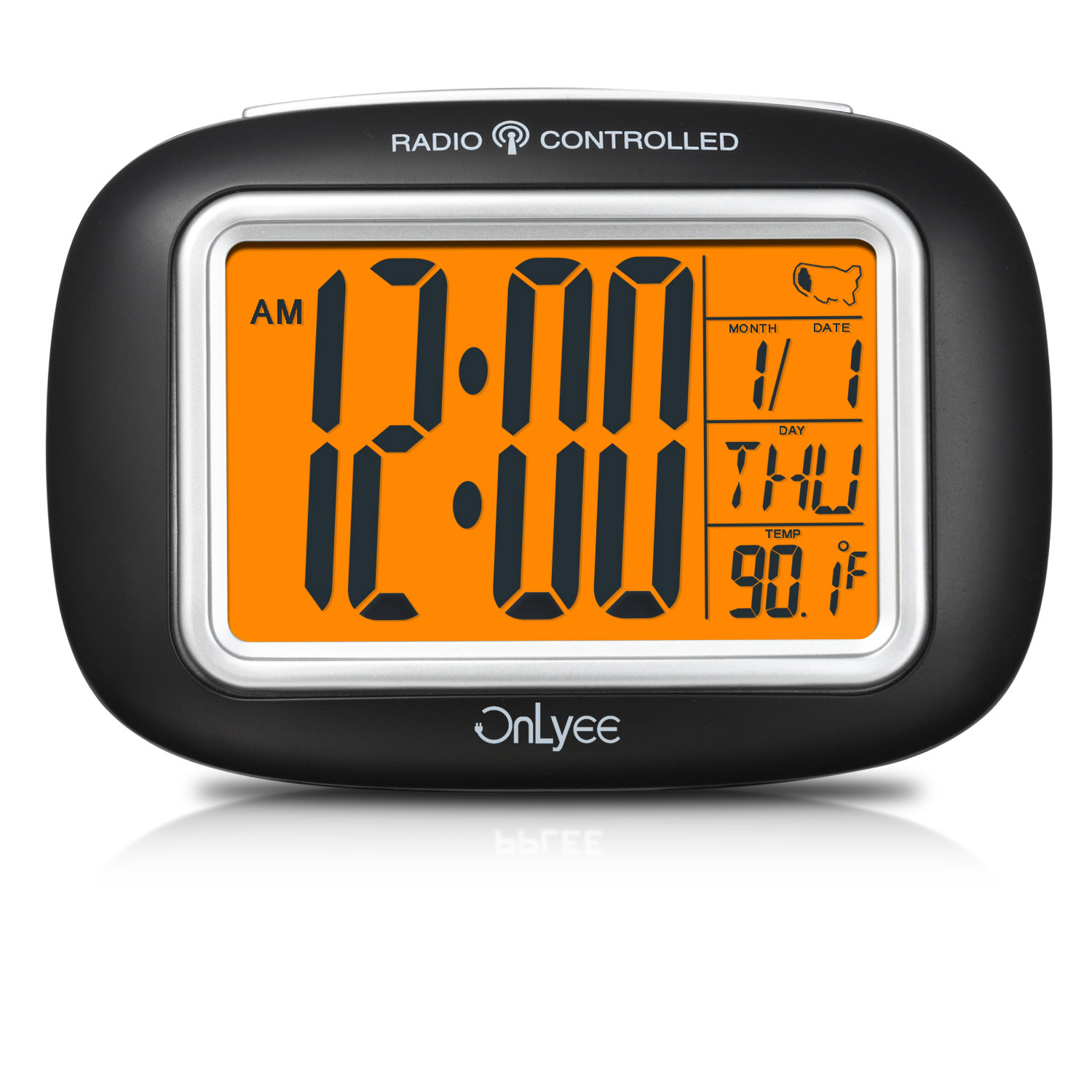 OnLyee  Radio Controlled Atomic LCD Digital Alarm Clock With Calendar,Indoor Temperature,Date(Batteries Included) image 1