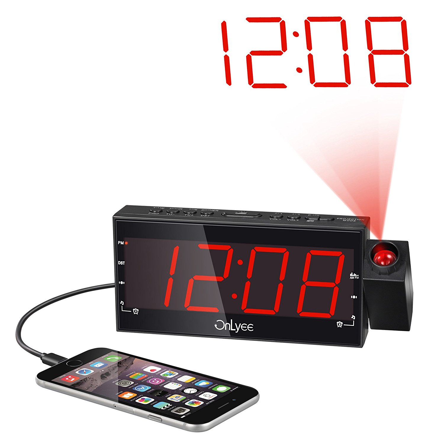"OnLyee 1.8"" LED Dimmable Projection Clock Radio with AM/FM,USB Charging,Dual Alarm,Battery Backup,Sleep Timer,Snooze image 5"
