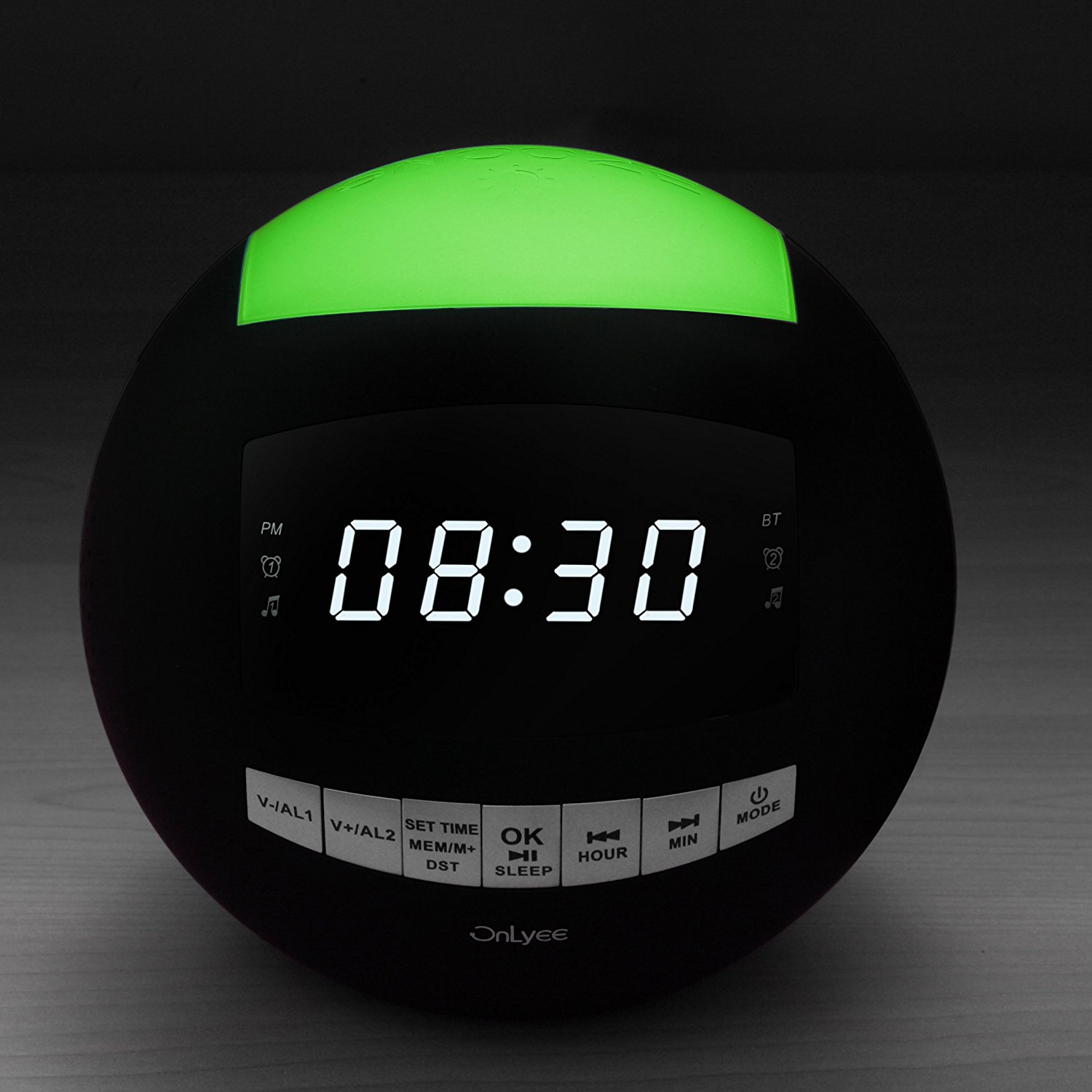 OnLyee Dual Alarm Clock FM Radio & Wireless Bluetooth Speaker with USB Charging,Multi-Color LED Night Light,Hands-free Calls,Snooze(Batteries Included) image 2