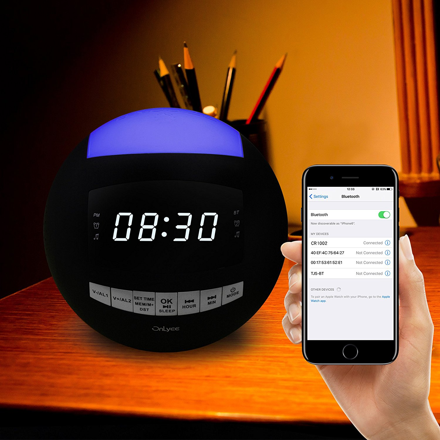 OnLyee Dual Alarm Clock FM Radio & Wireless Bluetooth Speaker with USB Charging,Multi-Color LED Night Light,Hands-free Calls,Snooze(Batteries Included) image 3