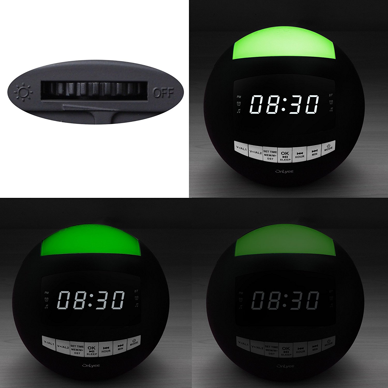 OnLyee Dual Alarm Clock FM Radio & Wireless Bluetooth Speaker with USB Charging,Multi-Color LED Night Light,Hands-free Calls,Snooze(Batteries Included) image 5