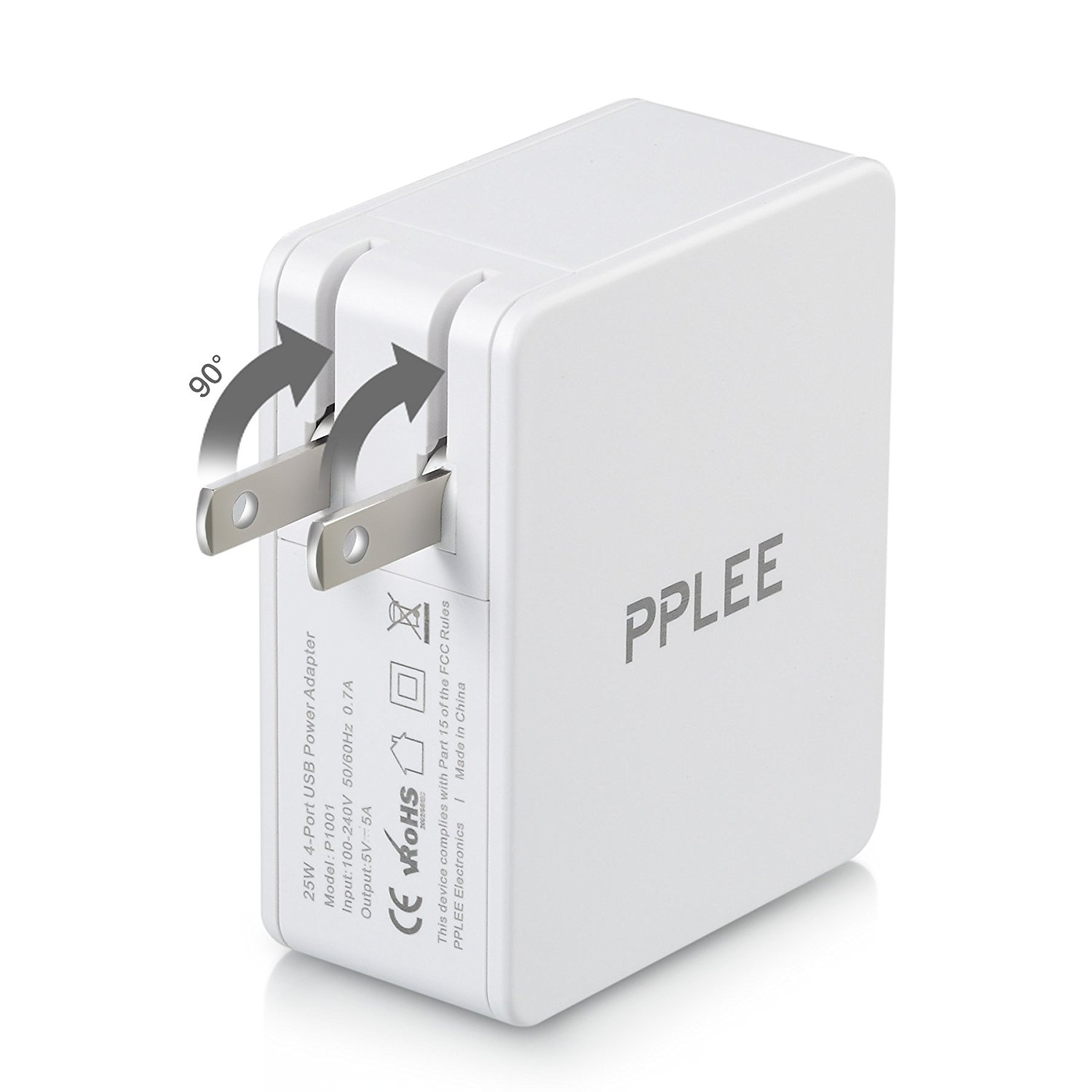 PPLEE 4 Port Charger High Speed Portable Travel USB Wall Charger Adapter White image 5