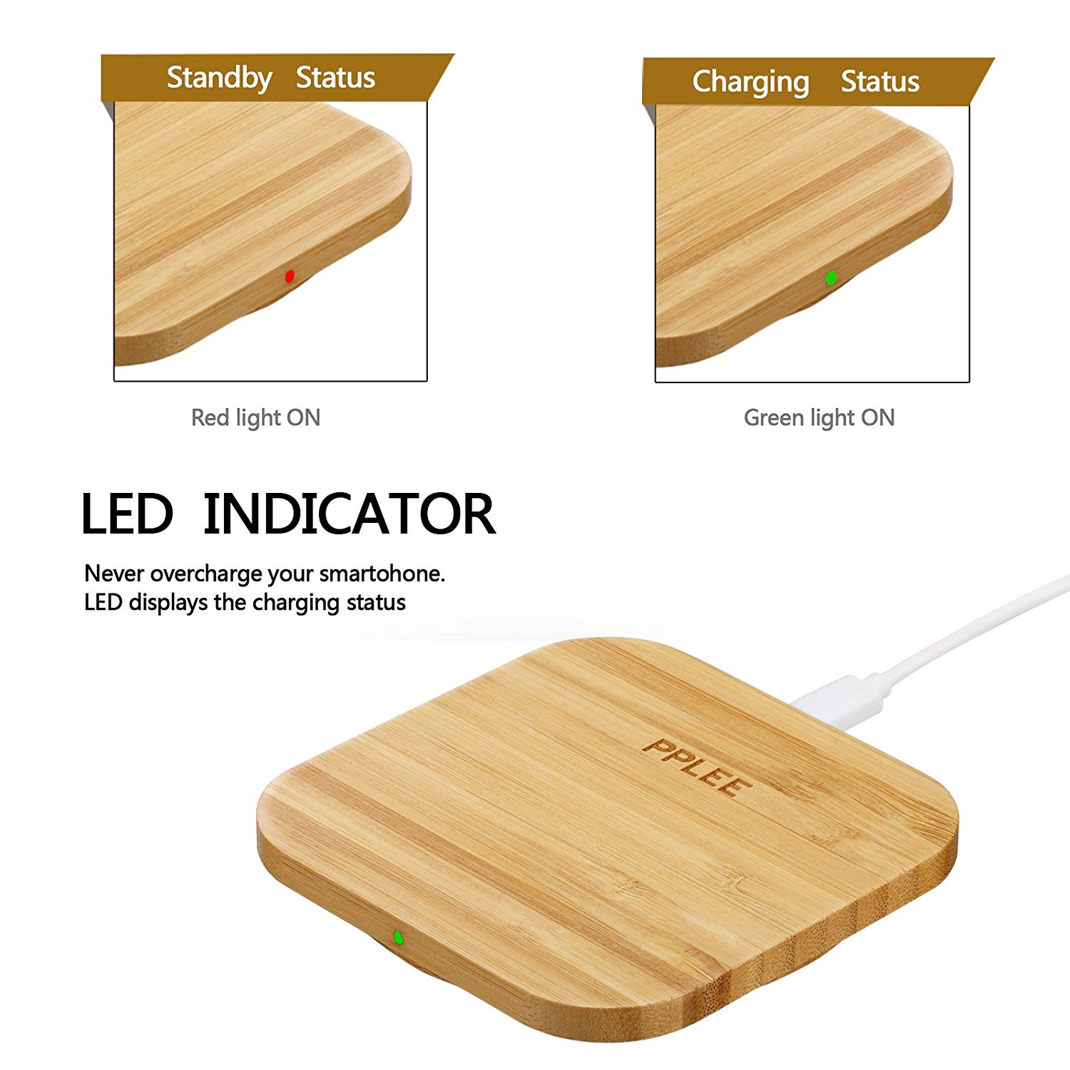 PPLEE Bamboo Wirelss Phone Charging Pad Compatible with Samsung S6,Note 5,S6 Edge +,Nexus 4/5/6/7,Nokia Lumia 920,LG Optimus Vu2,All Qi Stardard Devices (square) image 4