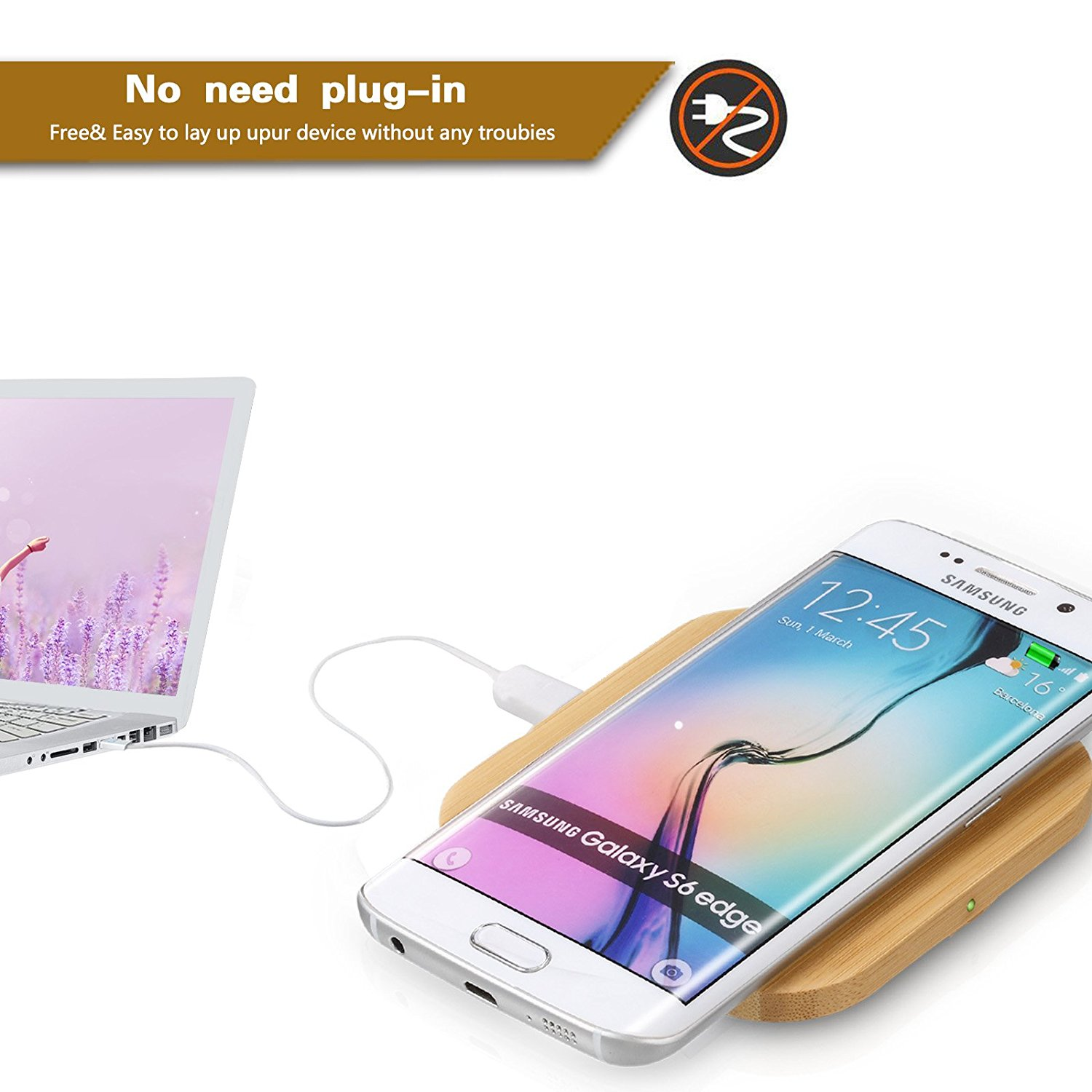 PPLEE Bamboo Wirelss Phone Charging Pad Compatible with Samsung S6,Note 5,S6 Edge +,Nexus 4/5/6/7,Nokia Lumia 920,LG Optimus Vu2,All Qi Stardard Devices (square) image 5