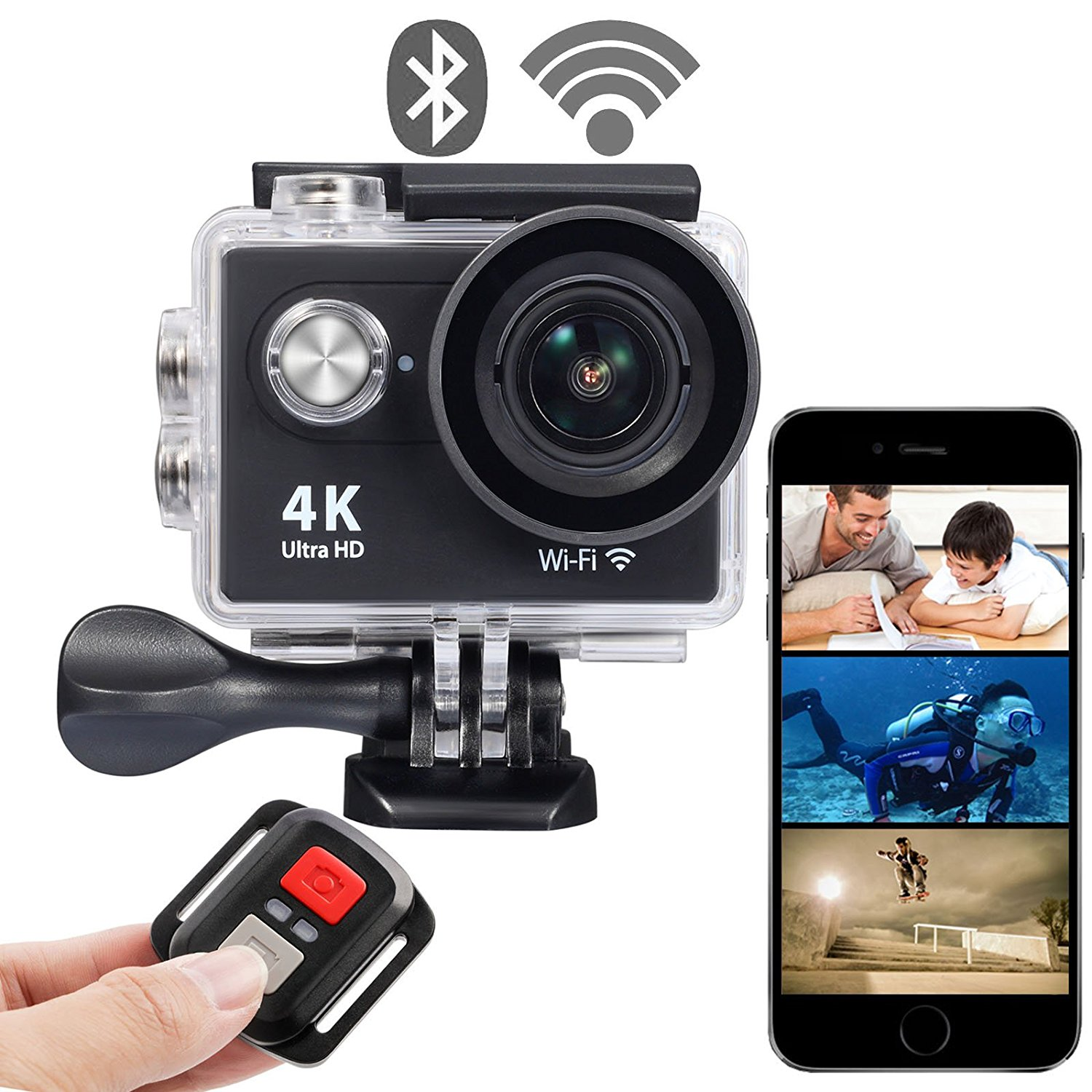 OnLyee 4K WIFI Sports Action Camera Ultra HD Waterproof DV Camcorder 12MP 170 Degree Wide Angle 2 inch LCD Screen/2.4G Remote Control/ Rechargeable Batteries  Main Image