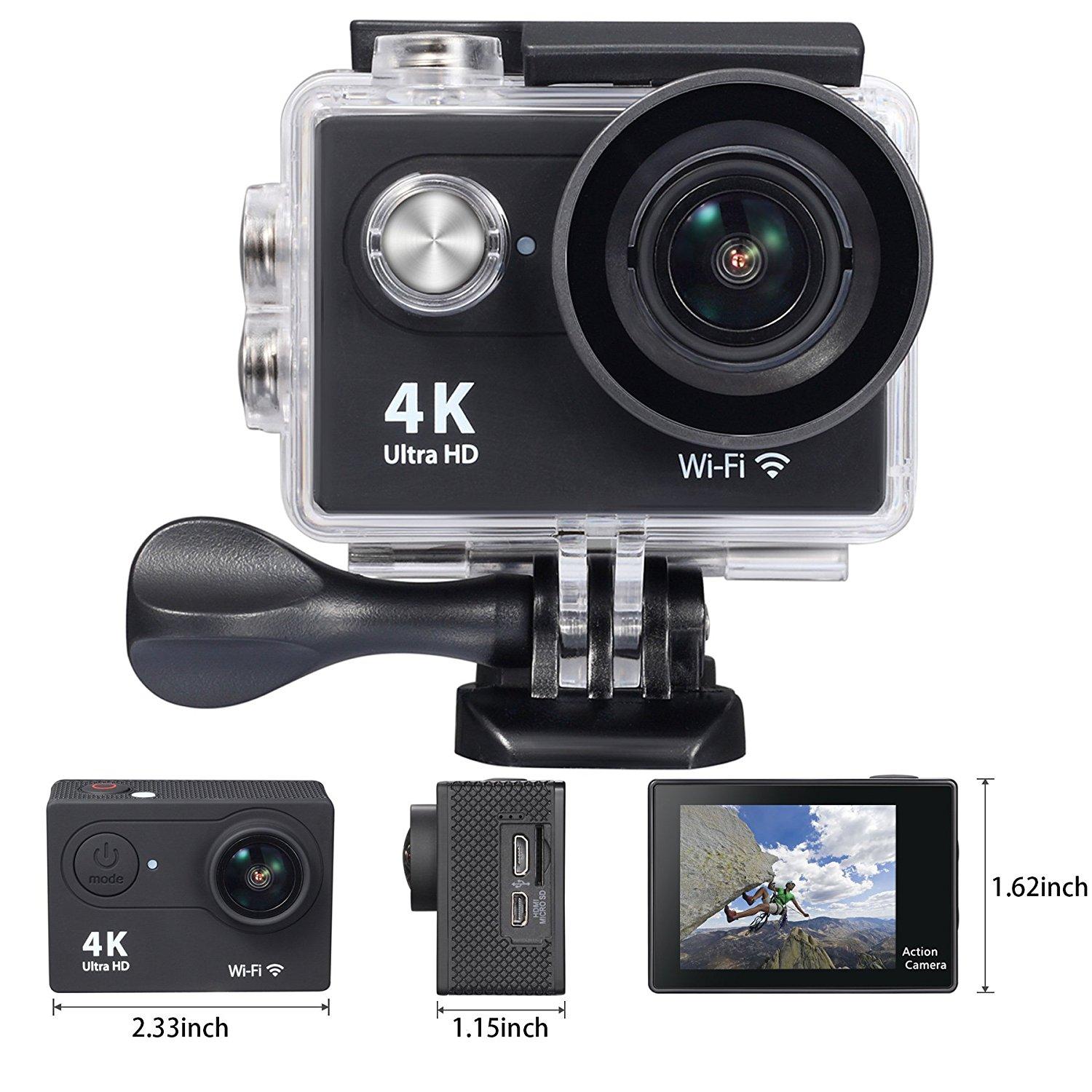 OnLyee 4K WIFI Sports Action Camera Ultra HD Waterproof DV Camcorder 12MP 170 Degree Wide Angle 2 inch LCD Screen/2.4G Remote Control/ Rechargeable Batteries  image 3