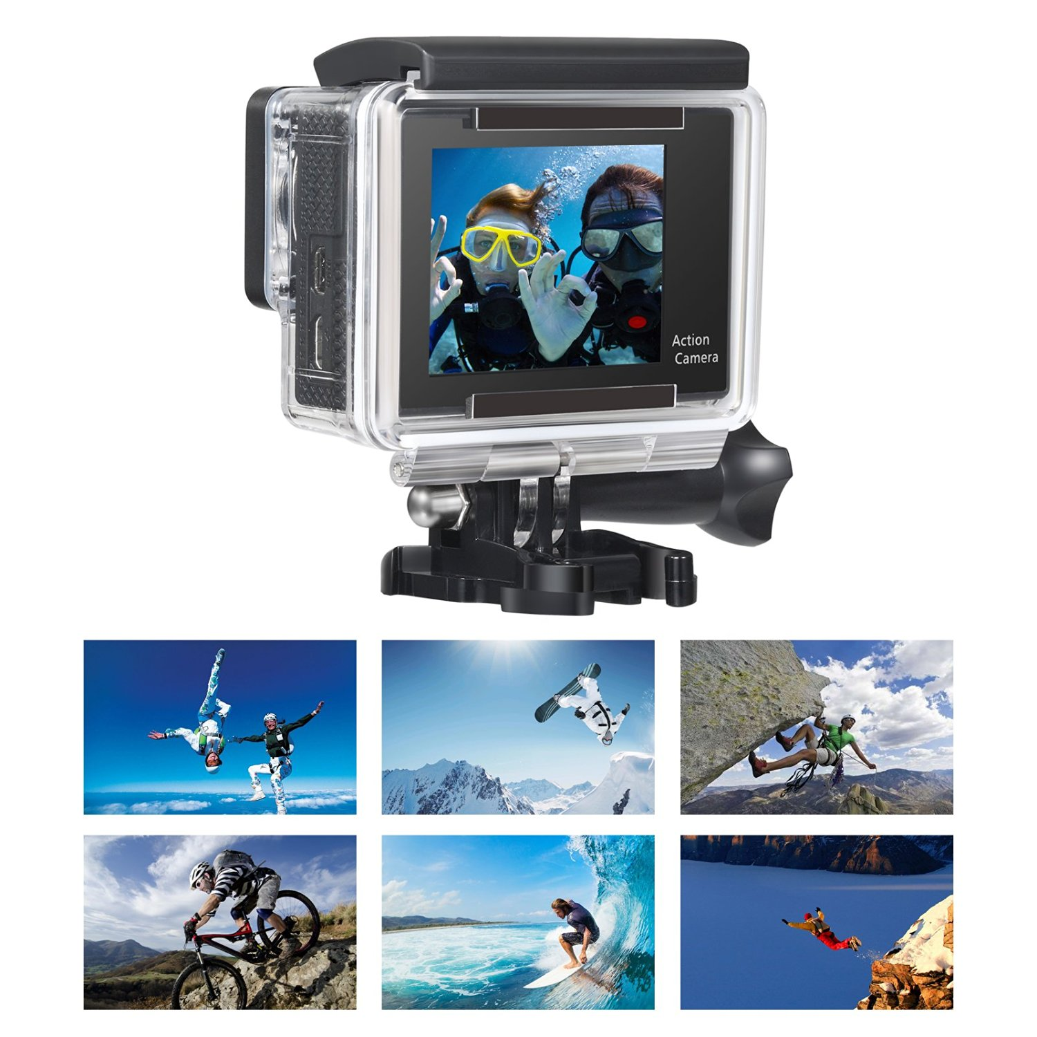 OnLyee  2.0'TFT LCD+0.95'OLED Status Dual Screen Full HD 1080p 12MP WIFI Sport Camera 170°HD Wide-angle Glass Lens Waterproof Diving Video Ation Camera image 4