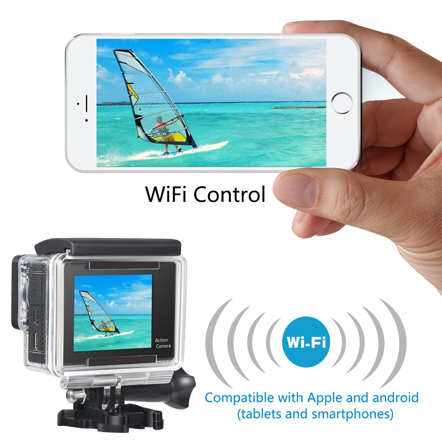 OnLyee  2.0'TFT LCD+0.95'OLED Status Dual Screen Full HD 1080p 12MP WIFI Sport Camera 170°HD Wide-angle Glass Lens Waterproof Diving Video Ation Camera image 5